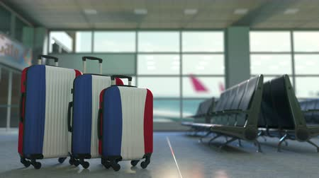 awaiting : Travel suitcases featuring flag of the Netherlands. Dutch tourism conceptual animation