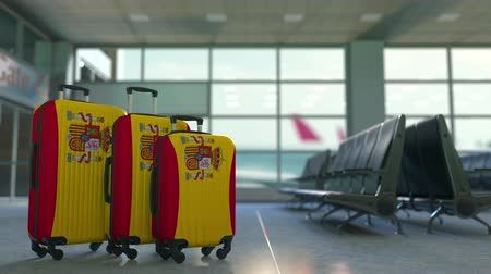 spaniard : Travel suitcases featuring flag of Spain. Spanish tourism conceptual animation
