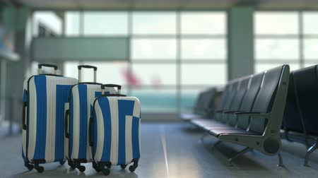 greece flag : Travel suitcases featuring flag of Greece. Greek tourism conceptual animation