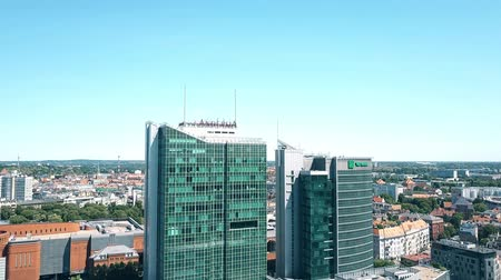 pwc : POZNAN, POLAND - MAY 20, 2018. Aerial view of Andersia Tower and Poznan Financial Centre Stock Footage