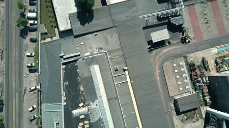 ironworks : Aerial top down view of an old factory Stock Footage