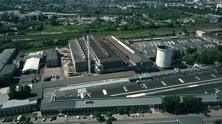 ironworks : POZNAN, POLAND - MAY 20, 2018. Aerial view of H. Cegielski - Poznan S.A. train factory Stock Footage