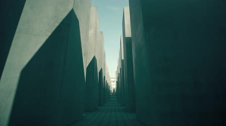 alemão : BERLIN, GERMANY - APRIL 30, 2018. Memorial to the Murdered Jews of Europe Stock Footage