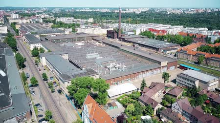 ironworks : POZNAN, POLAND - MAY 20, 2018. Aerial view of H. Cegielski - Poznan S.A. HCP train plant Stock Footage