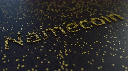 operacional : Namecoin word made of moving golden numbers. Cryptocurrency mining or transactions related conceptual animation