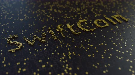 operacional : SwiftCoin word made of moving golden numbers. Cryptocurrency mining or transactions related conceptual animation Vídeos