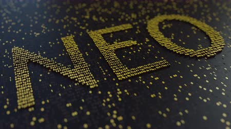 fluctuation : NEO word made of moving golden numbers. Cryptocurrency mining or transactions related conceptual animation