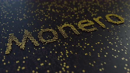 fluctuation : Monero word made of moving golden numbers. Cryptocurrency mining or transactions related conceptual animation Stock Footage