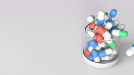 cápsula : Putting diuretic drug capsules into a jar. Conceptual 3D animation