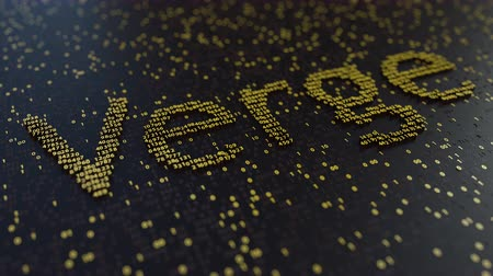 fluctuation : Verge word made of moving golden numbers. Cryptocurrency mining or transactions related conceptual animation