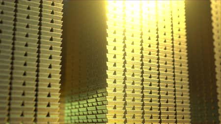 değerli : Huge stacks of shiny gold bars, loopable 3D animation