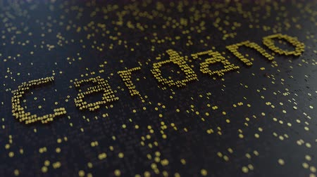 operacional : Cardano word made of moving golden numbers. Cryptocurrency mining or transactions related conceptual animation Vídeos