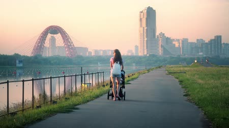 толчок : Young woman pushing stroller against distant cityscape in the evening Стоковые видеозаписи