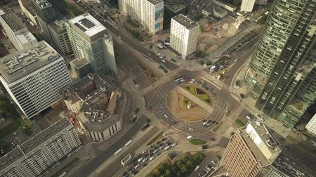 mass start : WARSAW, POLAND - JUNE 27, 2018. Aerial shot of urban roundabout