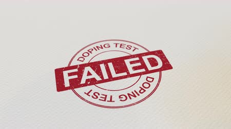 cancellation : DOPING TEST FAILED wooden stamp conceptual animation. Alpha matte for easy background change