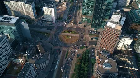 mass start : WARSAW, POLAND - JUNE 27, 2018. Aerial shot of roundabout in a financial district