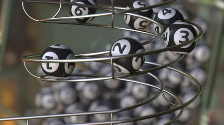 főnyeremény : Lotto balls make up number 1, 2, 3, 4, 5 and 6 sequence. Realistic 3D animation Stock mozgókép
