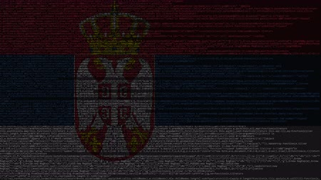 sérvia : Source code and flag of Serbia. Serbian digital technology or programming related loopable animation Vídeos