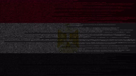 egyiptomi : Source code and flag of Egypt. Egyptian digital technology or programming related loopable animation
