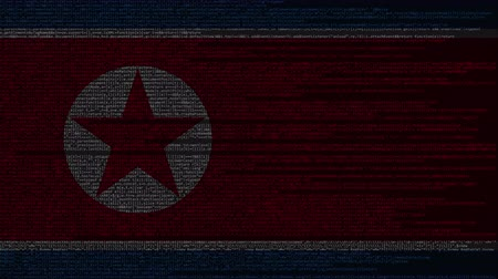 dprk : Source code and flag of North Korea. DPRK digital technology or programming related loopable animation Stock Footage