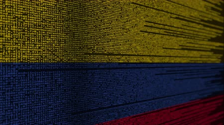 computer programmer : Program code and flag of Colombia. Colombian digital technology or programming related loopable animation Stock Footage