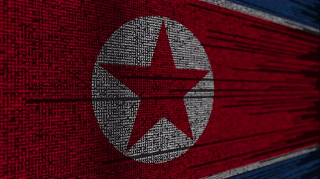 hacker computer : Program code and flag of North Korea. DPRK digital technology or programming related loopable animation Stock Footage