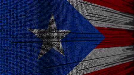 command : Program code and flag of Puerto Rico. Digital technology or programming related loopable animation