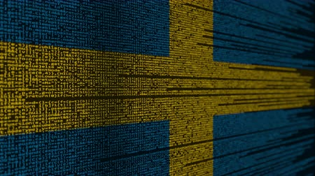 svéd : Program code and flag of Sweden. Swedish digital technology or programming related loopable animation