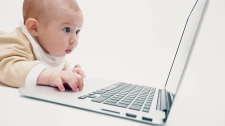 содержание : Focused baby girl watching at laptop screen Стоковые видеозаписи