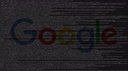 biggest : Google logo made of source code on computer screen. Editorial loopable animation Stock Footage