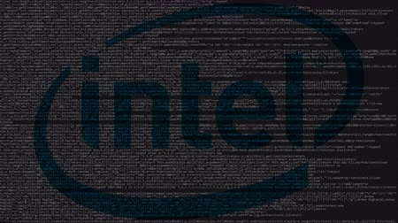 intel : Intel Corporation logo made of source code on computer screen. Editorial loopable animation