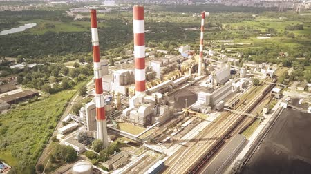 coal fired : Aerial time lapse of coal power station