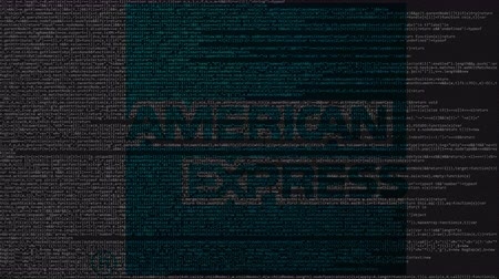 bankomat : American Express logo made of source code on computer screen. Editorial loopable animation