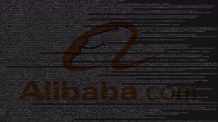 enterprise : Alibaba.com logo made of source code on computer screen. Editorial loopable animation