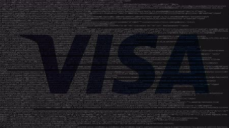 bankomat : Visa Inc. logo made of source code on computer screen. Editorial loopable animation Wideo