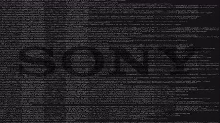 companhia : Sony Corporation logo made of source code on computer screen. Editorial loopable animation