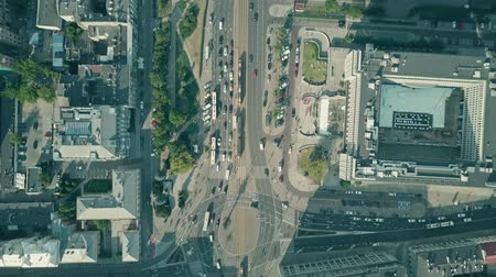 crossing road : Aerial top down view of city traffic Stock Footage