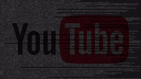 inc : YouTube logo made of source code on computer screen. Editorial loopable animation
