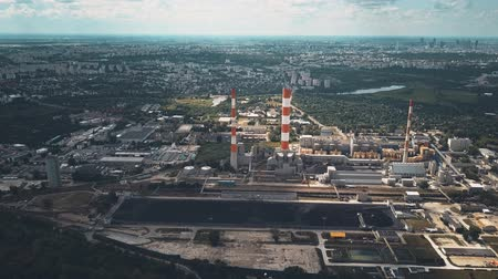 coal fired : Aerial view of coal power station Stock Footage