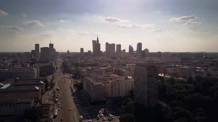varšava : Aerial time lapse of Warsaw central streets, Poland