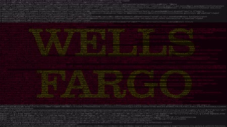 logotyp : Wells Fargo logo made of source code on computer screen. Editorial loopable animation