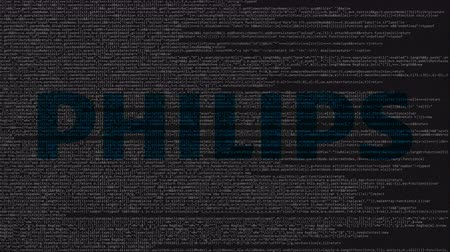 logotyp : Philips logo made of source code on computer screen. Editorial loopable animation