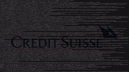 credit suisse : Credit Suisse logo made of source code on computer screen. Editorial loopable animation