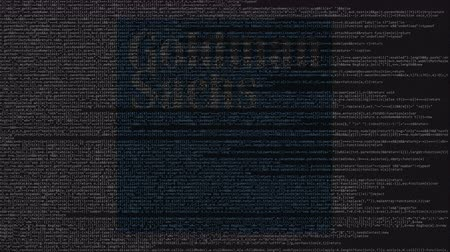 inc : Goldman Sachs logo made of source code on computer screen. Editorial loopable animation