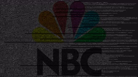 inc : NBC logo made of source code on computer screen. Editorial loopable animation