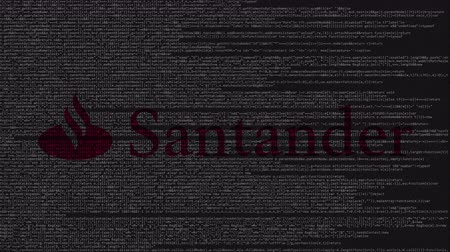telecomunicações : Santander Bank logo made of source code on computer screen. Editorial loopable animation Stock Footage
