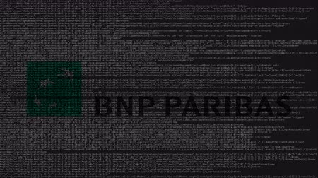 inc : BNP Paribas logo made of source code on computer screen. Editorial loopable animation Stock Footage