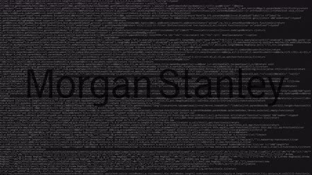 logotype : Morgan Stanley logo made of source code on computer screen. Editorial loopable animation Stock Footage