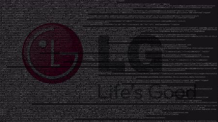 logotyp : LG Group logo made of source code on computer screen. Editorial loopable animation