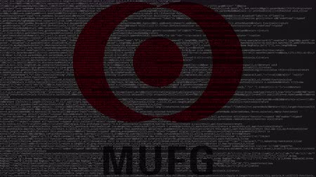 inc : Mitsubishi UFJ Financial Group MUFG logo made of source code on computer screen. Editorial loopable animation Stock Footage
